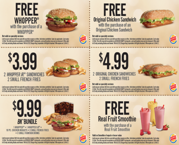 Burger King coupons september 2015